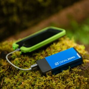 Blue Flip 20 - Charging Phone Outdoors